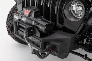 Bumpers - Front Bumpers - Go Rhino - Rockline Winch & LED Ready Front Stubby Bumper, JK, JL and JT Wrangler  - 331100T