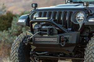 Go Rhino - Rockline Winch & LED Ready Front Stubby Bumper with Over rider Light Mount Bar  - 331101T