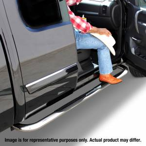 Run Board Nerf Bar - Nerf Bars - Go Rhino - 3 Tubular Side Bars for 2019 Chevy/GMC 1500 Crew Cab, Polished Stainless Finish - 4078PS