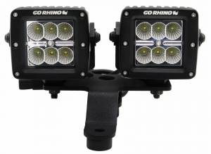 Light Bars - Light Bar Mounting Kits - Go Rhino - Jeep Wrangler JL, JLU & JT Windshield Cowl Mount for 3 X 3 Dual Cubes - 730230T