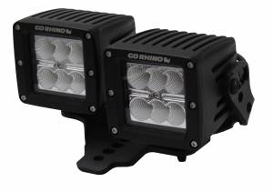 Light Bars - Light Bar Mounting Kits - Go Rhino - Jeep Wrangler JL, JLU & JT Hood hinge Mount for 3 X 3 Dual Cube Offset  - 731230T