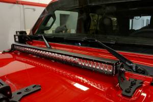 Light Bars - Light Bar Mounting Kits - Go Rhino - Jeep Wrangler JL, JLU & JT Hood hinge Mount for a 30 Single Row LED Bar - 731300T