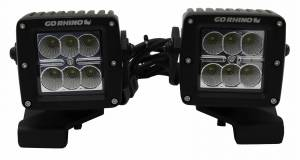 Light Bars - Light Bar Mounting Kits - Go Rhino - Jeep Wrangler JL, JLU & JT Center Hood Mount for 3 inch Cube LED Lights  - 732230T