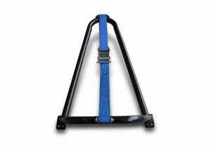 Exterior - Exterior Accessories - N-Fab - Gloss Black Bed Mounted Tire Carrier w/ Blue Strap - BM1TCBL