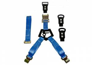 Exterior - Exterior Accessories - N-Fab - Gloss Black Bed Mounted Rapid Strap Tire Carrier w/ Blue Strap - BM1TSBL