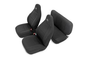 Interior - Seat Covers - Rough Country - Black Neoprene Seat Cover Set (Front and Rear) - 91000