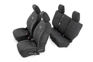 Interior - Seat Covers - Rough Country - Black Neoprene Seat Cover Set (Front and Rear) - 91002A