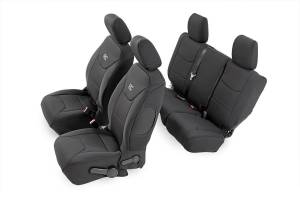 Interior - Seat Covers - Rough Country - Black Neoprene Seat Cover Set (Front and Rear) - 91003