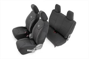 Interior - Seat Covers - Rough Country - Jeep Neoprene Seat Cover Set / Black (07-10 Wrangler JK / 2 Door) - 91005