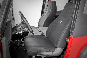 Interior - Seat Covers - Rough Country - Jeep Neoprene Seat Cover Set / Black (87-90 Wrangler YJ) - 91008