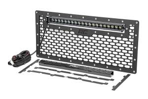 Exterior - Grilles - Rough Country - Laser-Cut Mesh Grille w/20-in Black Series Single Row CREE LED Light Bar-JK/JKU - 10535