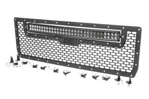 Exterior - Grilles - Rough Country - Laser-Cut Mesh Grille w/ 30-inch Black Series Dual Row CREE LED Light Bar - 70190