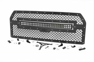 Exterior - Grilles - Rough Country - Laser-Cut Mesh Grille w/ 30-inch Black Series Dual Row CREE LED Light Bar - 70193