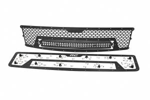 Exterior - Grilles - Rough Country - Laser-Cut Mesh Grille w/ 30-inch Black Series Dual Row CREE LED Light Bar - 70196