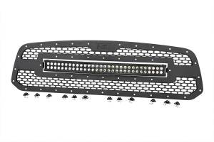 Exterior - Grilles - Rough Country - Laser-Cut Mesh Grille w/ 30-inch Black Series Dual Row CREE LED Light Bar - 70199