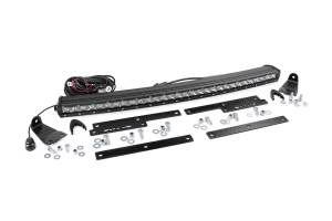 Lighting - Grille Light Kits - Rough Country - Single Row LED Lt Bar Hidden Grille Mt w/30in Chrome Curved CREE LED Light Bar - 70625