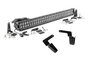 Lighting - Grille Light Kits - Rough Country - 30-inch Black Series Dual Row LED Light Bar and Hidden Bumper Mounts Kit - 70652