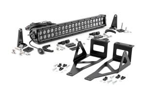 Lighting - Grille Light Kits - Rough Country - 20-inch Black Series Dual Row LED Light Bar w/ Hidden Bumper Mounts - 70665