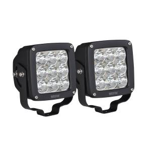 Lighting - Off Road Lights - Westin - LED Auxiliary Light 4.5 inch x 4.5 inch Square Spot w/3W Osram (Set of 2) - 09-12219A-PR