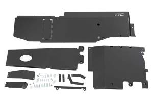 Body Armor & Sliders - Skid Plates - Rough Country - Jeep Engine + Transfer Case + Gas Tank Skid Plate Sys (18-20 JL Unlmtd, 3.6L) - 10608