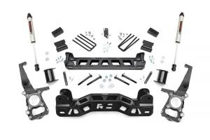 """Rough Country 4"""" 2011-2014 Ford F-150 4WD Lift Kit with V2 M-Tube Shocks 57270"""