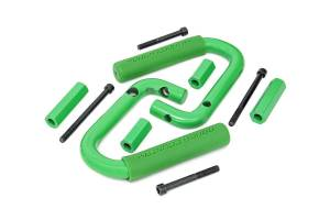 Interior - Grab Handles - Rough Country - Jeep Front Solid Steel Grab Handles (07-18 Wrangler JK, Green) - 6501GREEN