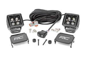 Lighting - Interior Lights - Rough Country - Jeep 2in LED Cube Blk Ser w/Amber DRL Easy-Mnt Kt (18-20 Wrnglr JL/20 Gladiator) - 70060