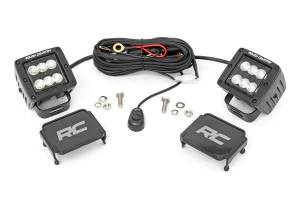 Rough Country - 2-inch Square Cree LED Lights - (Pair, Black Series, Flood Beam) - 70133BL