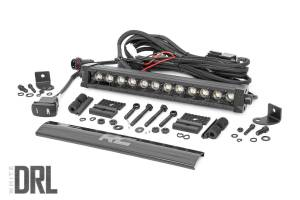Rough Country - 12-inch Cree LED Light Bar - (Single Row, Black Series w/ Cool White DRL) - 70712BLDRL