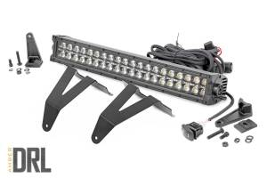 Lighting - Grille Light Kits - Rough Country - Dodge 20in LED Bumper Kit, Black Series w/ Amber White DRL (19-20 RAM 1500) - 70779DRLA
