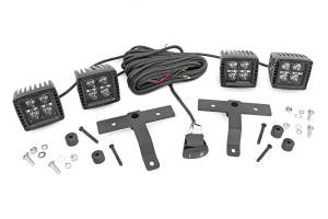 Lighting - Interior Lights - Rough Country - Jeep Quad LED Light Pod Kit - Black Series w/Amber DRL (18-20 JL/20 Gladiator) - 70823