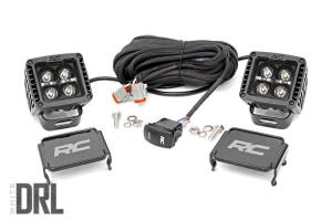 Rough Country - 2-inch Square Cree LED Lights - (Pair, Black Series w/ Cool White DRL) - 70903BLKDRL