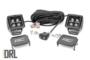 Rough Country - 2-inch Square Cree LED Lights - (Pair, Black Series w/ Amber DRL) - 70903BLKDRLA