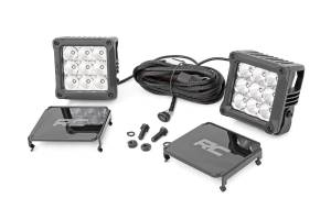 Lighting - Interior Lights - Rough Country - 4-inch Square Cree LED Lights - (Pair, Chrome Series w/ Cool White DRL) - 70905DRL
