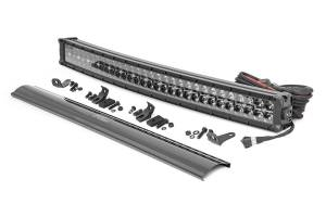 Rough Country - 30-inch Curved Cree LED Light Bar - (Dual Row, Black Series w/ Amber DRL) - 72930BDA