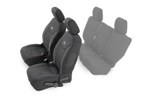 Interior - Seat Covers - Rough Country - Jeep Neoprene Front Seat Cover, Black (13-18 Wrangler JK Unlimited) - 91004F