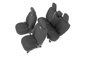 Interior - Seat Covers - Rough Country - Jeep Neoprene Seat Cvr Set, Black (18-20 Wrnglr JL Unlmtd w/Rear Center Armrest) - 91012