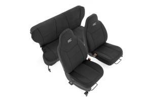 Interior - Seat Covers - Rough Country - Jeep Neoprene Seat Cover Set, Black (97-01 XJ w/ Non-Detachable Headrest) - 91022