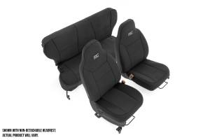 Interior - Seat Covers - Rough Country - Jeep Neoprene Seat Cover Set, Black (97-01 XJ w/ Detachable Headrest) - 91023