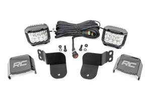 Lighting - Interior Lights - Rough Country - Polaris Dual LED Cube Kt - Blk Ser w/3in Osram Wide Angle LED (16-20 General) - 93023