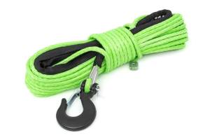 Winch & Recovery - Winch Accessories - Rough Country - Green 1/4in Synthetic Winch Rope, UTV, ATV - RS142