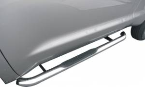 3 Inch Round Bent Pol Stainless Steel With Plastic End Caps Rocker Panel Mount - 1150530071