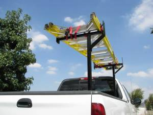 Truck Bed Accessories - Ladder/Headache Racks - TrailFX - 250 Lb Cap Multi-Fit Adjustable Width From 24 Inches to 35 Inches Powder Coated - 2599123103