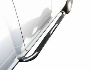 3 Inch Round Bent Pol Stainless Steel With Plastic End Caps Rocker Panel Mount - A0407SS