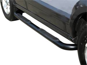 TrailFX - 4 Inch Round Bent Titanium Black Steel Rocker Panel Mount - A8008TI