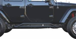 Body Armor & Sliders - Rocker Guards - TrailFX - Oval Tube Pwdr Ctd Black Steel OE Rock Rails and Running Boards Must Be Removed - J005