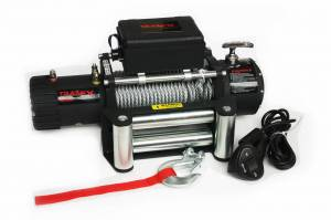 Winch & Recovery - Winches - TrailFX - 12V Electric 8K Lb Cap 94 Ft Wire Rope Roller Fairlead Wired Remote - W08B