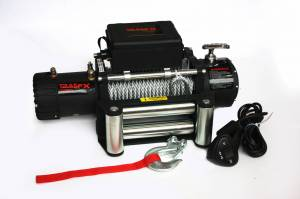 Winch & Recovery - Winches - TrailFX - 12V Electric 10K Lb Cap 94 Ft Wire Rope Roller Fairlead Wired Remote - W10B