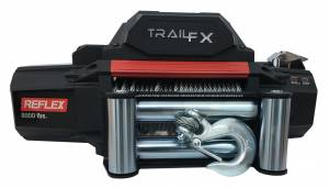 Exterior - Winches - TrailFX - 12V 8000 Lb Line Pull Cap 94 Ft Wire Rope Roller Fairlead Mount Not Included - WR08B
