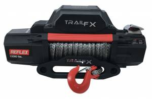 Exterior - Winches - TrailFX - 12V 12000 Lb Line Cap 94 Ft Synthetic Rope Roller Fairlead Mount Not Included - WRS12B